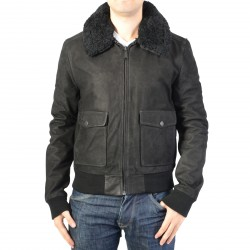 Blouson en Cuir Homme Redskins Interpol Punch Black