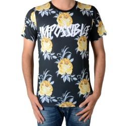 Tee Shirt Celebry Tees Roses Noir / Jaune