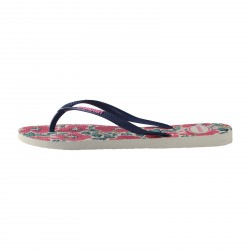 Tong Havaianas H.Slim Floral White/Navy Blue