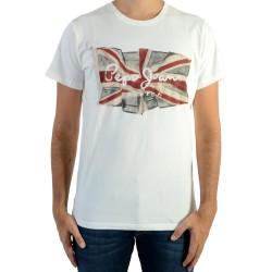 Tee Shirt Pepe Jeans Flag Logo 800 White PM501854