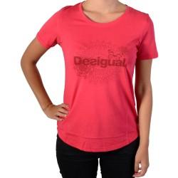 Tee Shirt Desigual 17WTRK27 Tee Essential Gris Vigore 3139 Raspberry