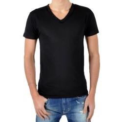 T-Shirt Eleven Paris L2 Basic V Button SS Noir