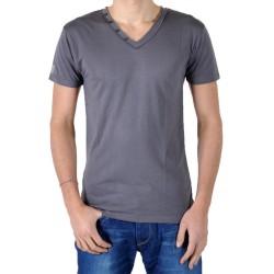 T-Shirt Eleven Paris L2 Basic V Button SS Gris Rock