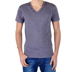 T-Shirt Eleven Paris L2 Basic V Button SS Violet Chiné