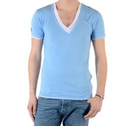 T-Shirt Eleven Paris L2 Basic Double V SS Bleu Azur