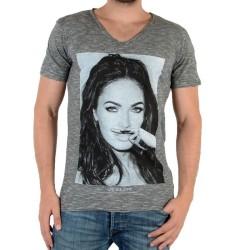Tee Shirt Eleven Paris Foxy M Megan Fox Gris Coton Vintage
