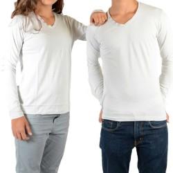 Tee Shirt Little Eleven Paris Basic V LS Mixte (Garçon / Fille) Gris Clair Ciment