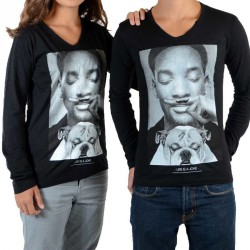 Tee Shirt Little Eleven paris Willy LS Mixte (Garçon / Fille) WIll Smith Noir
