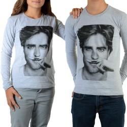 Tee Shirt Little Eleven paris Berty LS Mixte (Garçon / Fille) Robert Pattinson Gris