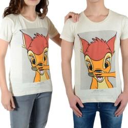 Tee Shirt Little Eleven Paris Bambi SS Mottled Mixte (Garçon / Fille) Bambi Blanc