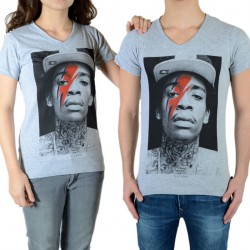 Tee Shirt Little Eleven Paris Wiz Bowie SS Mixte (garçon / fille) Wiz Khalifa Gris