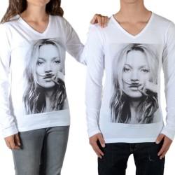 Tee Shirt Little Eleven Paris Kate LS Kate Moss Mixte (Garçon / Fille) Blanc M99