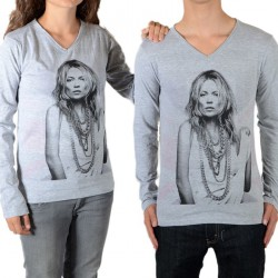 Tee Shirt Little Eleven Paris V Moss LS Kate Moss Mixte (Garçon / Fille) Gris Chiné M03