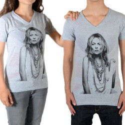 Tee Shirt Little Eleven Paris V Moss SS Kate Moss Mixte (Garçon / Fille) Gris Chiné