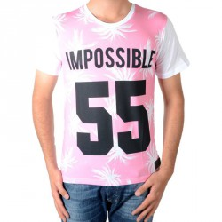 Tee Shirt Celebry Tees Palme 55 Blanc / Rose