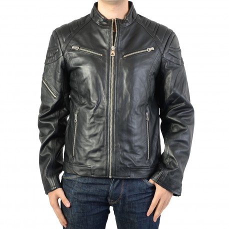Blouson en Cuir Homme Redskins Flash Biber Black