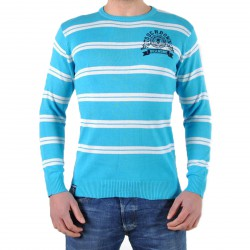 Pull Be And Be Touchdown à Rayures Turquoise / Blanc / Navy