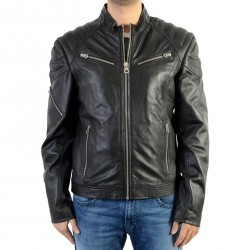 Veste En Cuir Redskins Flash Biber Black