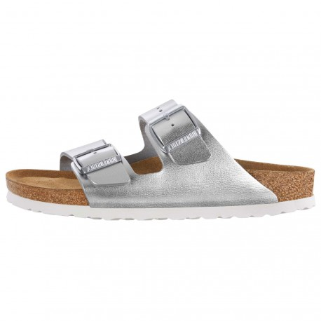 Sandales Birkenstock Arizona Cuir Metallic Silver Soft Footbed 1005961