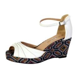 Sandales Compensée Femme The Divine Factory Blanc